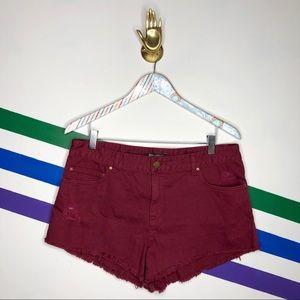 NEW Billabong maroon high waist denim shorts